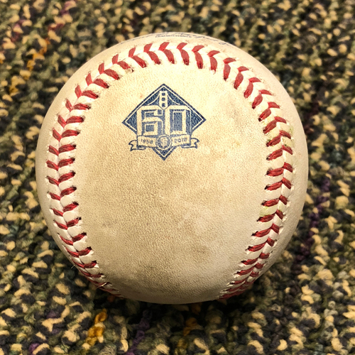 Photo of 2018 San Francisco Giants - 2018 Game Used Baseball - Kelby Tomlinson RBI Double - 4/27/2018 vs. Los Angeles Dodgers