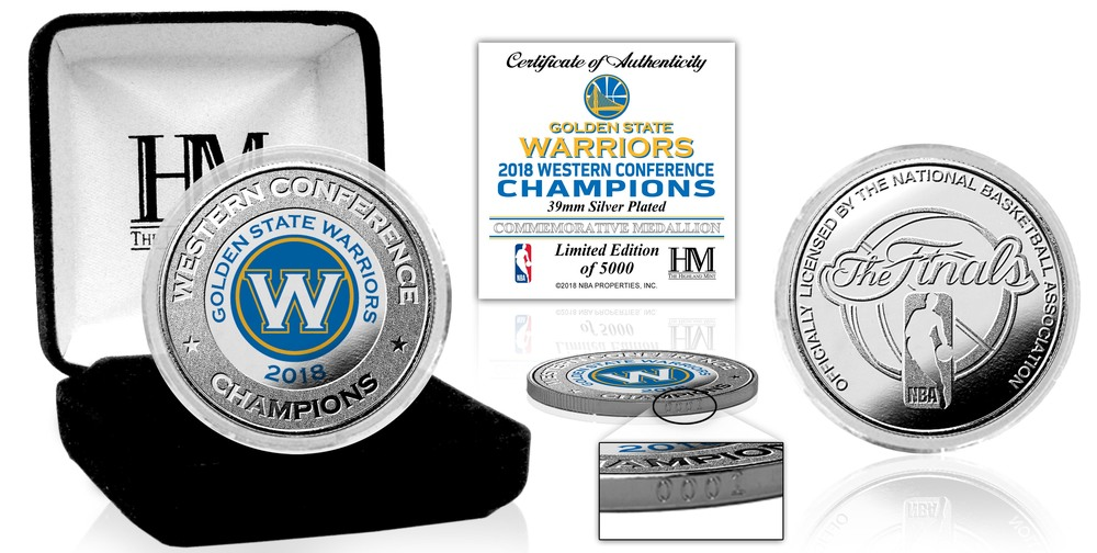 Serial #1! Golden State Warriors 2018 NBA Western Conference Champions Silver Mint Coin