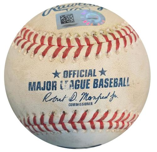 Photo of Game-Used Baseball from Pirates vs. Cardinals on 5/25/18 - Harrison RBI Single, Polanco Foul