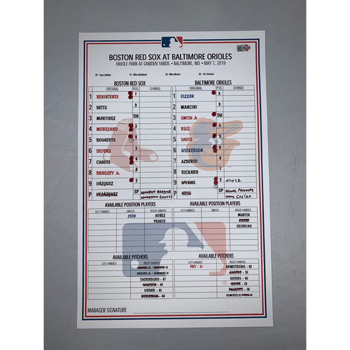 Photo of Boston Red Sox vs Baltimore Orioles May 7, 2019 Game-Used Lineup Card - Red Sox Win 8 to 5