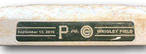 Photo of Game-Used 1st Base -- Used in Innings 5 through 9 -- Nico Hoerner Wrigley Field Debut -- 9/13/19 -- Pirates vs. Cubs