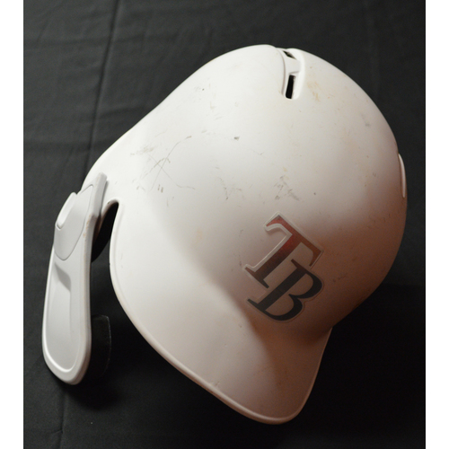 "Photo of Austin ""MEADS"" Meadows Tampa Bay Rays Game-Used 2019 Players' Weekend Helmet"