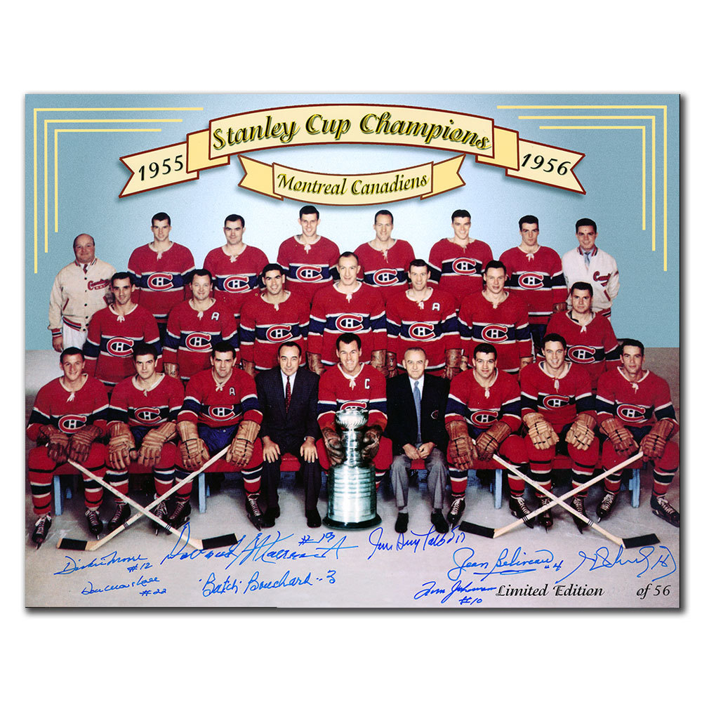 1956 Montreal Canadiens Stanley Cup Champions Team Autographed 11x14 Signed by 8