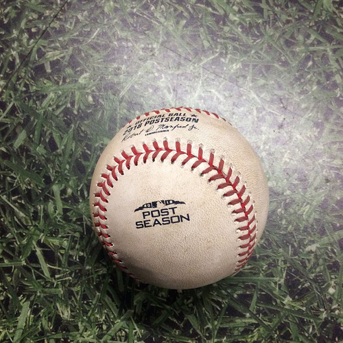 Photo of Game-Used Baseball NLCS Game 7 LAD@MIL 10/20/18 - Josh Hader - Enrique Hernandez: Foul