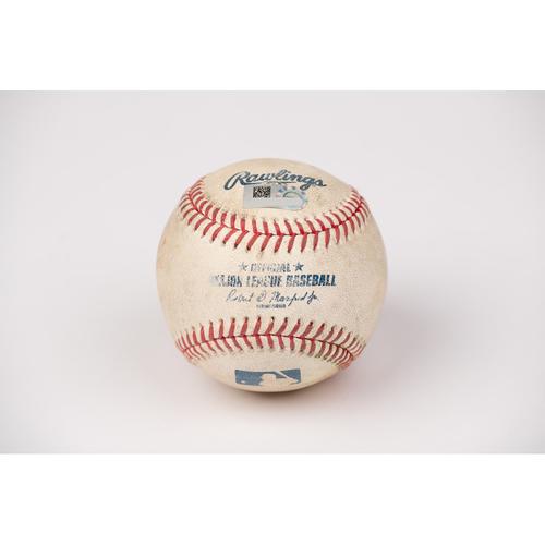 Photo of Game Used Baseball: Pitcher: J.B. Wendelken, Batter: Mike Trout - 2-Run Home Run - Bot 4 - 8-10-2020 vs. OAK