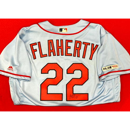Photo of Jack Flaherty Autographed Team Issued Road Alternate Jersey (Size 46)