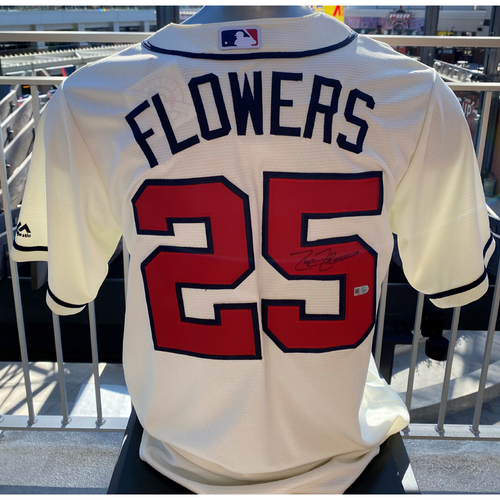Photo of Tyler Flowers Autographed Jersey (Off-White)