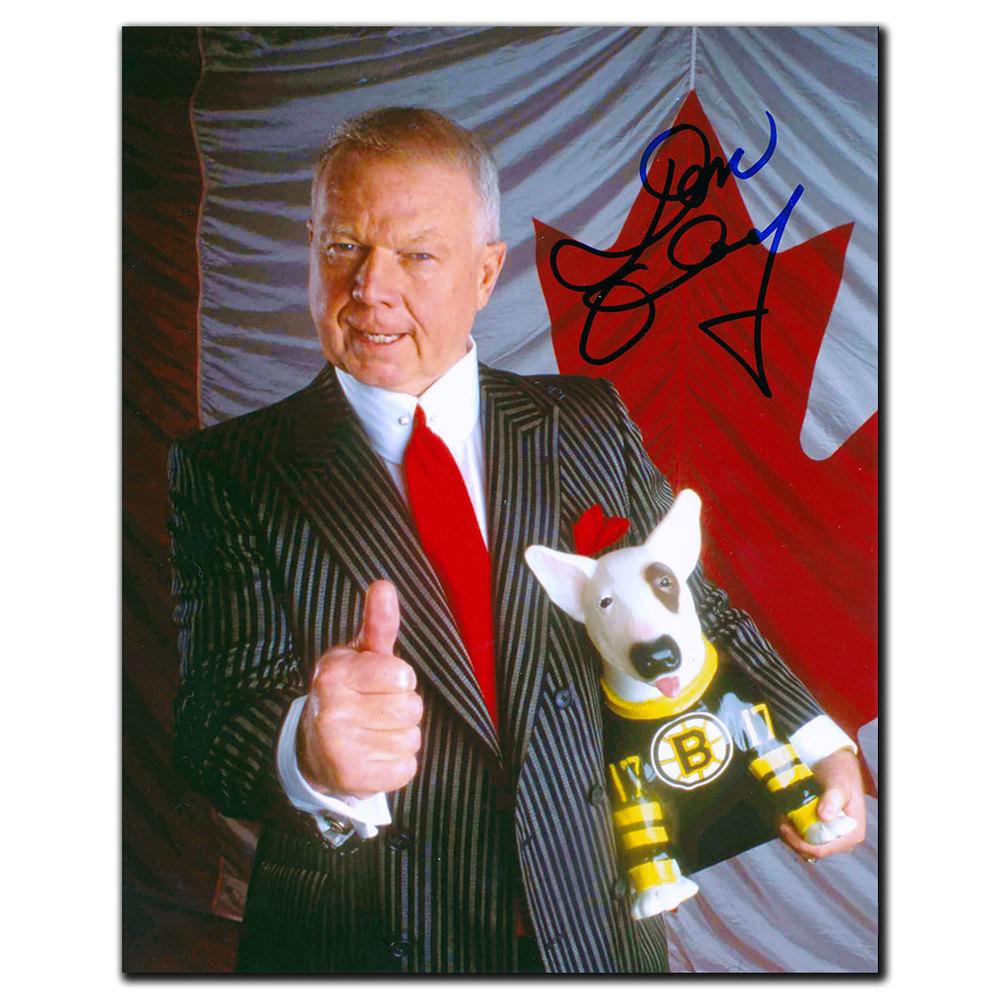 Don Cherry Boston Bruins BLUE Autographed 8x10