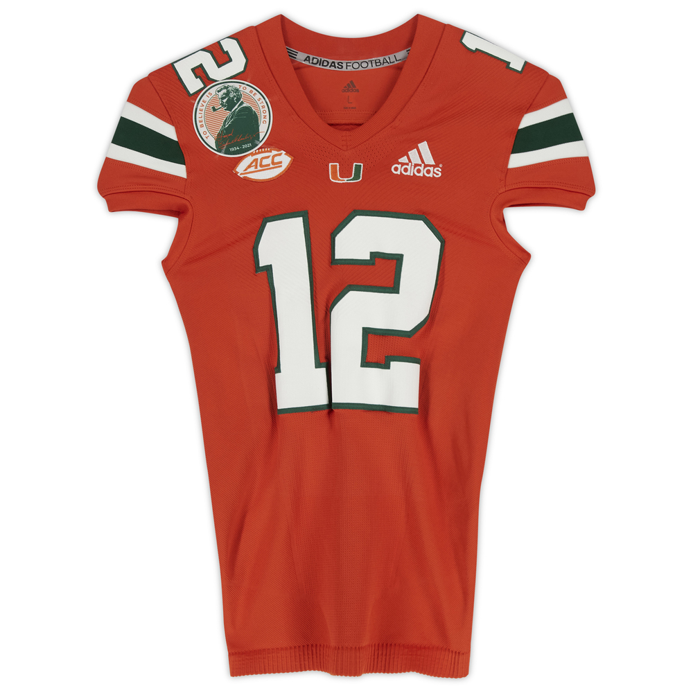 #12 Miami Hurricanes Game-Used adidas Primeknit Jersey with Howard Schnellenberger Patch vs. Virginia Cavaliers September 30, 2021 - Size L