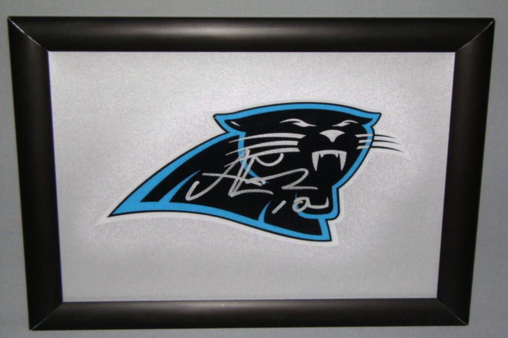 PANTHERS - ARMANTI EDWARDS SIGNED PANTHERS DECAL WITHIN 8.5 X 11 PICTURE FRAME