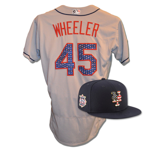 Photo of Zack Wheeler #45 - Game Used 4th of July Jersey and Hat - Wheeler 6.1 IP, 2 ER, 5 K's - Mets vs. Blue Jays - 7/3/18