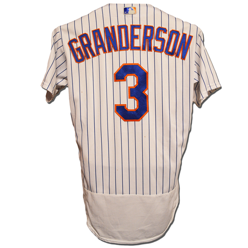 Photo of Curtis Granderson #3 - Game Used White Pinstripe Jersey - 1 RBI, 1 Run Scored, Mets Set Franchise Record for Runs Scored in an Inning - Mets vs. Giants - 4/29/16