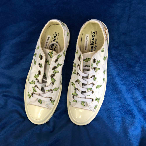 Photo of UMPS CARE AUCTION: Chuck Taylor Converse Women's Size 8.5 White with Green and Yellow Cactus Print