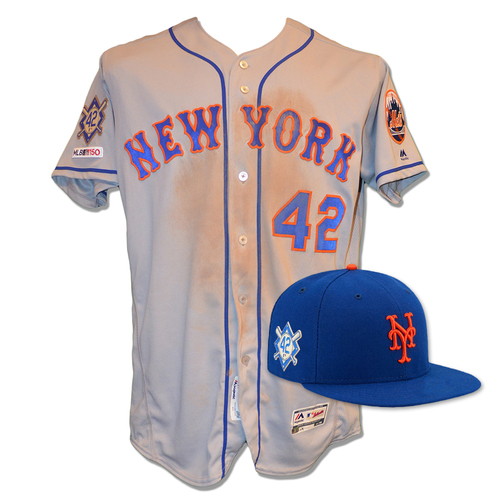 Photo of Pete Alonso - Game Used Road Grey Jackie Robinson #42 Jersey and Hat - 1-4, 1 R, 1 BB - Mets vs. Phillies - 4/15/19