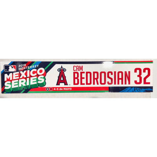 Photo of 2019 Mexico Series Game Used Locker Name Plate - Cam Bedrosian, Houston Astros at Los Angeles Angels - 5/4/19 - 5/5/19