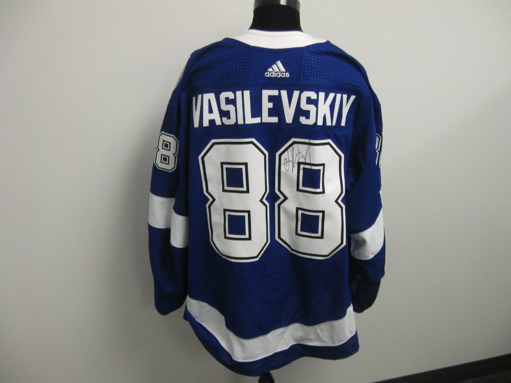 Andrei Vasilevskiy Autographed Event Worn Jersey from 2019 Player Media Tour - Tampa Bay Lightning