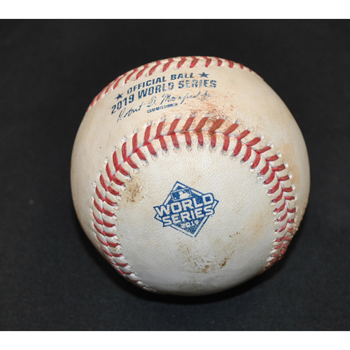 Photo of Game-Used Baseball: 2019 World Series - Game 1: Pitcher: Max Scherzer, Batter: Michael Brantley (Line Out) - Bot 5