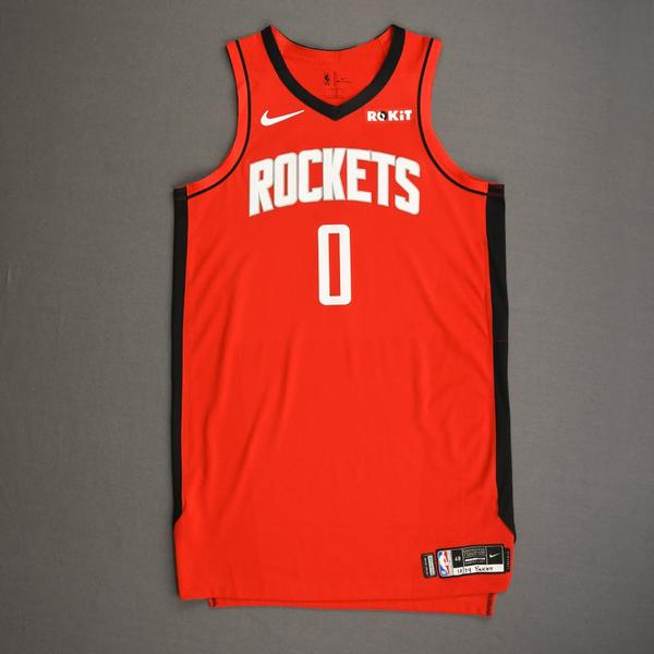 Image of Russell Westbrook - Houston Rockets - Kia NBA Tip-Off 2019 - Game-Worn 2nd Half Icon Edition Jersey -  Rockets' Debut - Double-Double