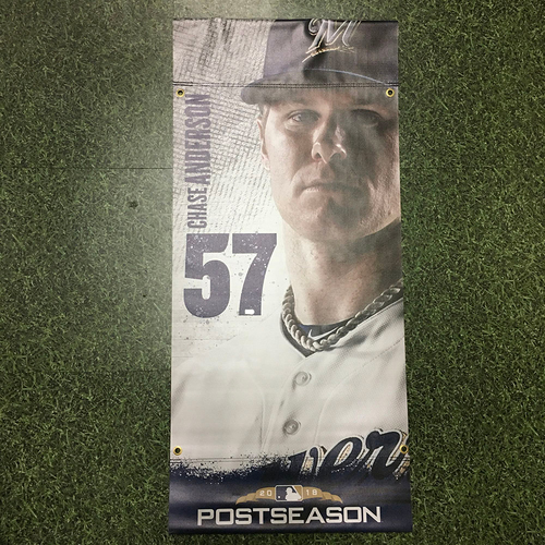 Photo of Chase Anderson 2018 Team-Issued Postseason Plaza Banner