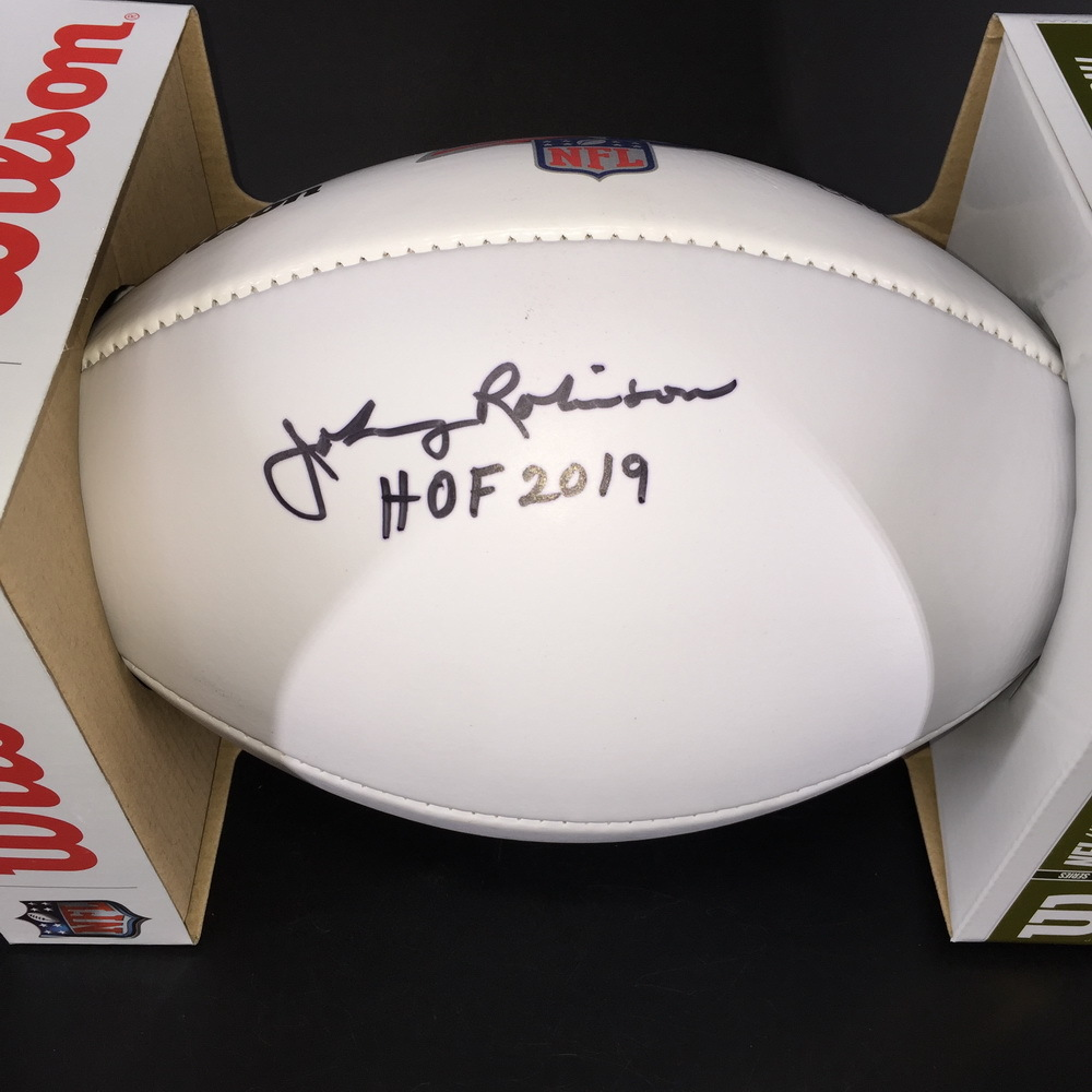 HOF - Chiefs Johnny Robinson Signed NFL Auction Exclusive Panel Ball W/ 100 Seasons Logo