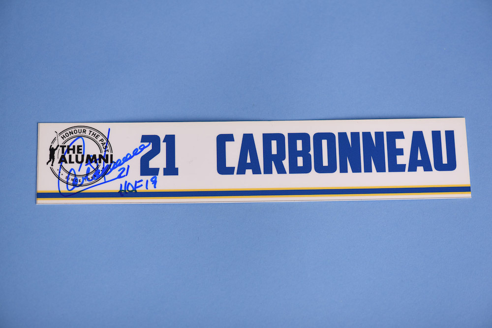 Guy Carbonneau autographed 2020 NHL Alumni All Star Game Locker Room Stall Nameplate