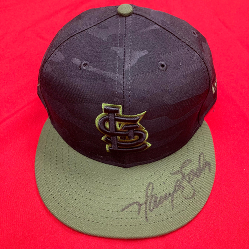 Photo of Harrison Bader Autographed Replica Camo Cap (Size 7 7/8)