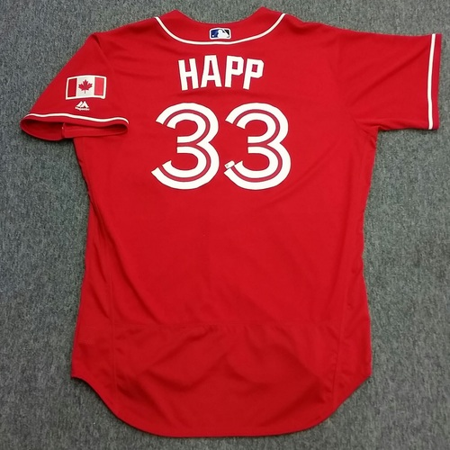 Authenticated Game Used J.A. Happ Canada Baseball Day Jersey