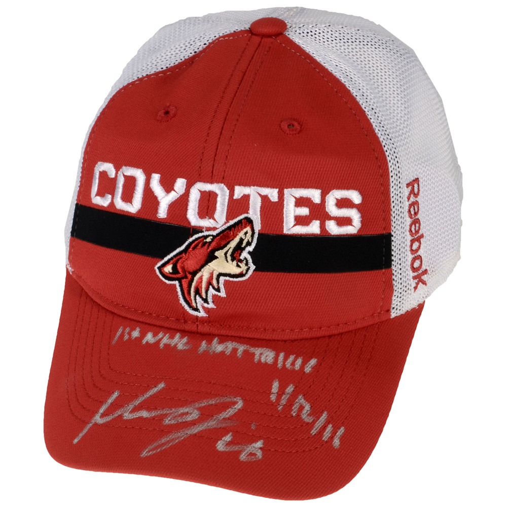 Max Domi Arizona Coyotes Autographed Cap with 1st NHL Hat Trick 1/12/16 Inscription - #16 of a Limited Edition of 16