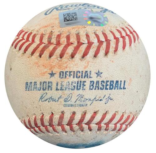 Photo of Game-Used Baseball from Pirates vs. Dodgers on 6/5/18 - Cervelli Single, Bell Ground Out