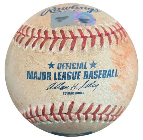 Photo of Game-Used Baseball from Pirates vs. Brewers on 5/13/13 - Carlos Gomez Single