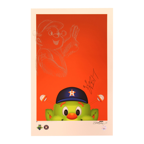Photo of Houston Astros Orbit Poster with Original Remarque by S. Preston and Autographed by Orbit