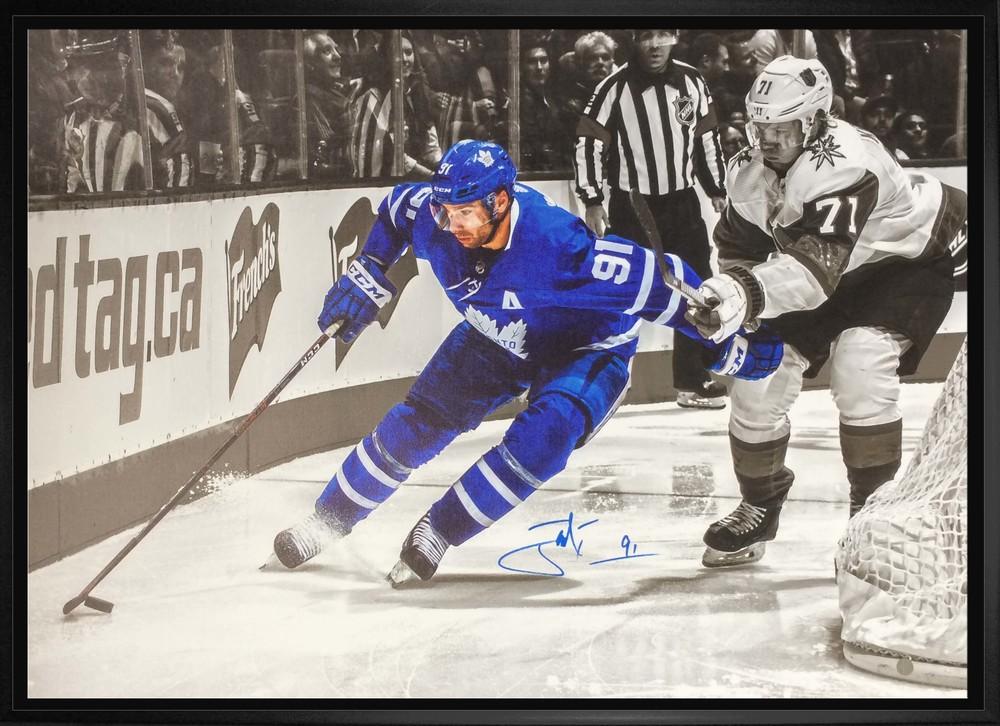 John Tavares Signed 20x29 Canvas Framed Toronto Maple Leafs Spotlight vs Vegas