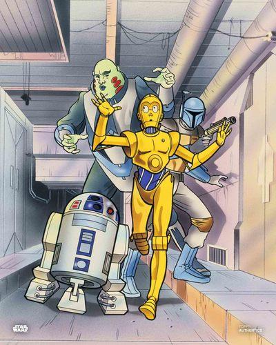C-3PO, Boba Fett, Sise Fromm and R2-D2