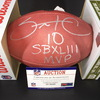 Santonio Holmes Signed Authentic Football with NFL 100 Logo featuring 'SB XLIII MVP' Inscription