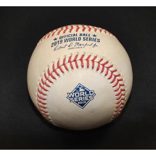 Photo of Game-Used Baseball: 2019 World Series - Game 1: Pitcher: Max Scherzer, Batter: Yuli Gurriel (Foul) - Bot 5