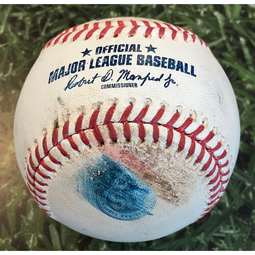 Photo of Game-Used Baseball MIN@MIL 08/11/20 - Josh Lindblom - Byron Buxton: Single