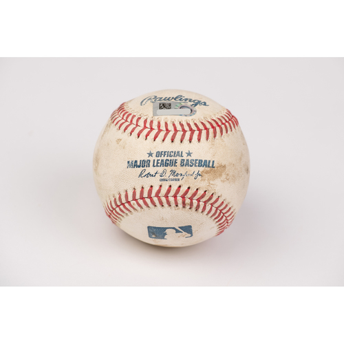 Photo of Game Used Baseball: Pitcher: Lou Trivino, Batter: Shohei Ohtani - 2-Run Home Run - Bot 6 - 8-10-2020 vs. OAK