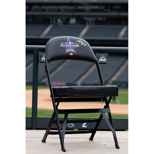 Photo of 2021 Celebrity Softball Game Autographed On Field Chair - Blake Gray