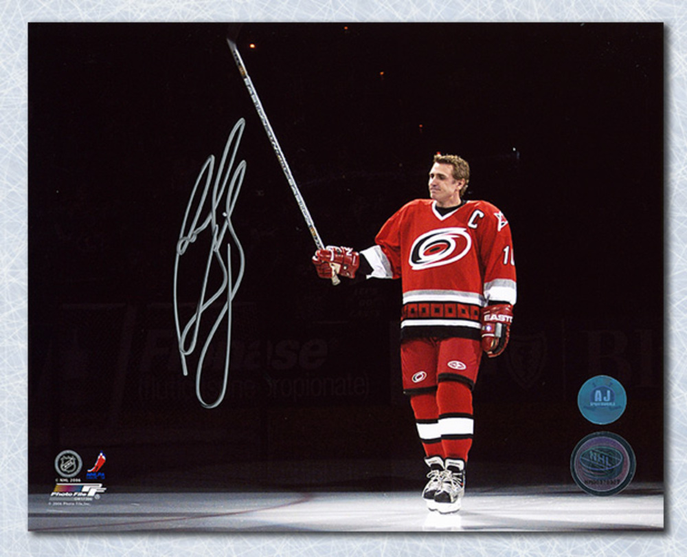 Ron Francis Carolina Hurricanes Autographed Jersey Retirement 8x10 Photo