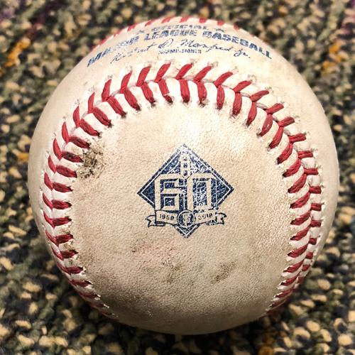 Photo of 2018 San Francisco Giants - 2018 Game Used Baseball - Pablo Sandoval  Single - 4/25/2018 vs. Washington Nationals - (Also Crawford - Foul Ball & Belt - Groundout)