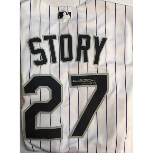 Photo of Trevor Story Autographed Authentic Rockies Jersey
