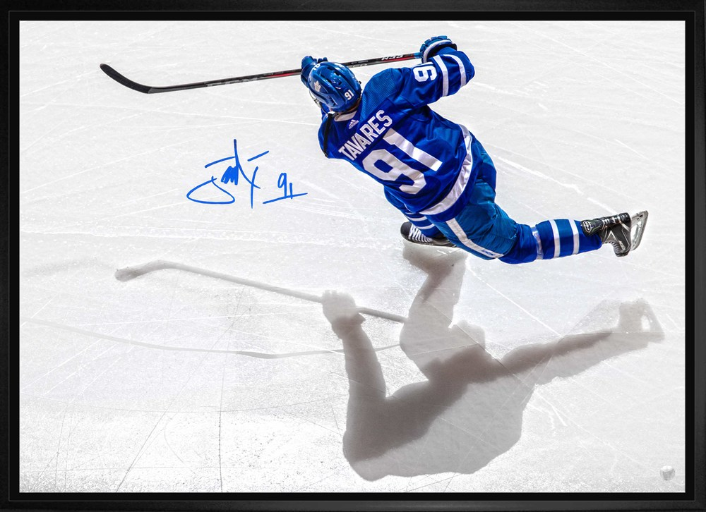 John Tavares Signed 20x29 Canvas Framed Toronto Maple Leafs Overhead Shadow