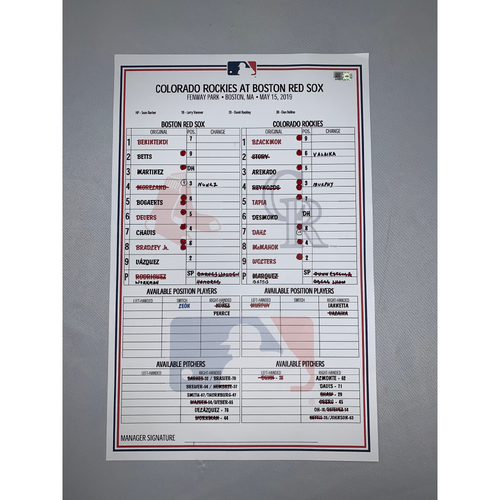 Photo of Colorado Rockies vs Boston Red Sox May 15, 2019 Game-Used Lineup Card - Red Sox Win 6 to 5