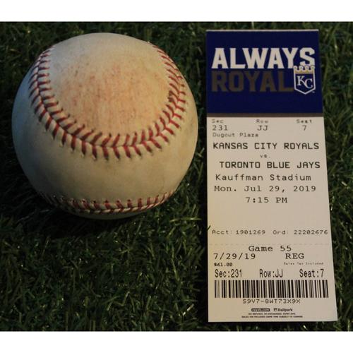 Team-Issued Ticket and Game-Used Baseball: Bo Bichette Major League Debut - Swinging Strike (7/29/19 - TOR @ KC)