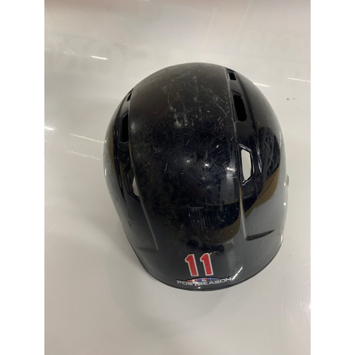 Photo of Jose Ramirez Game Used Batting Helmet with 2018 Postseason Sticker