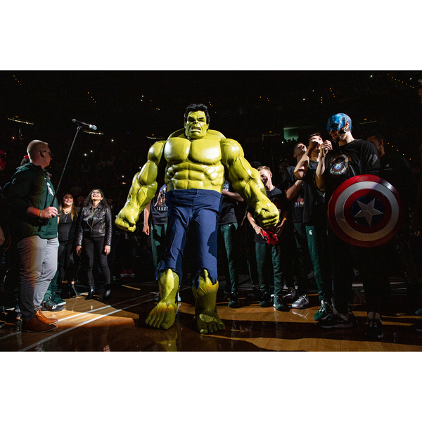 Photo of Authentic Izzcredible Hulk Costume Worn by Tom Izzo at 2019 Michigan State Madness