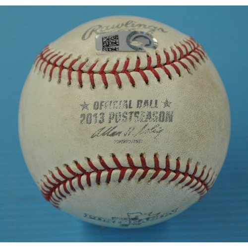 Photo of Game-Used Baseball - 2013 World Series - Boston Red Sox vs. St. Louis Cardinals - Batter - David Ortiz, Pitcher - Michael Wacha - Bottom 2 - Ball - Game 2 - 10/24/2013