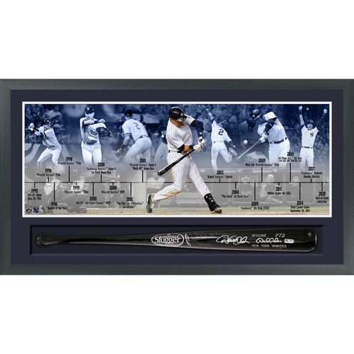 Photo of Derek Jeter Autographed Bat Timeline Shadow Box