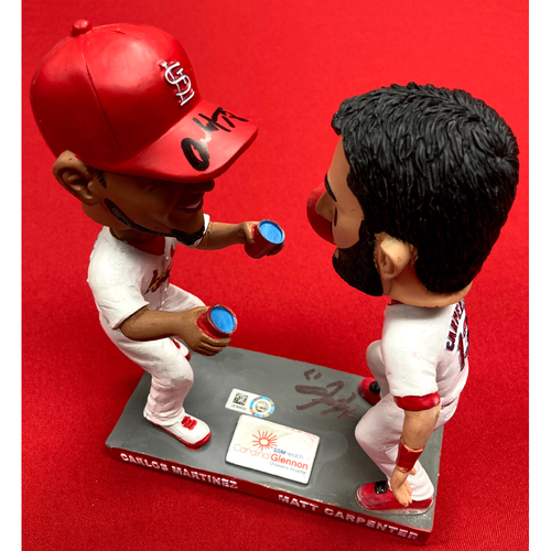 Photo of Carlos Martinez and Matt Carpenter Autographed Double Bobblehead