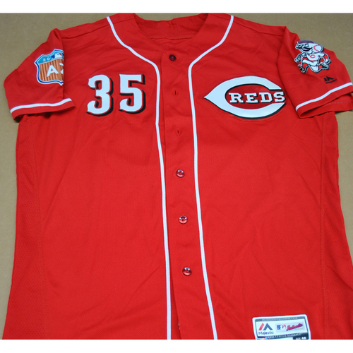 Photo of Game-Used 2016 Spring Training Jersey - Jim Riggleman - Size 48 - Cincinnati Reds